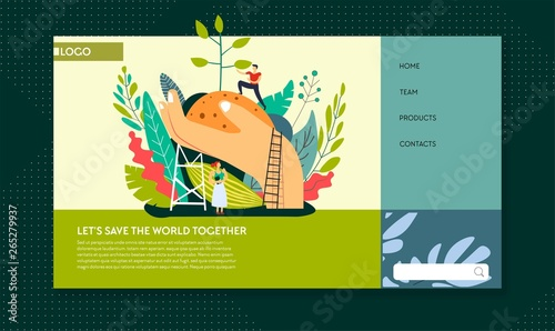 Fotografía  Ecology and environment protection planting trees web page template