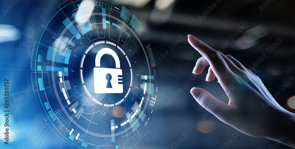 Fototapety, obrazy: Cyber security, Information privacy, Data protection. Internet and technology concept on virtual screen.