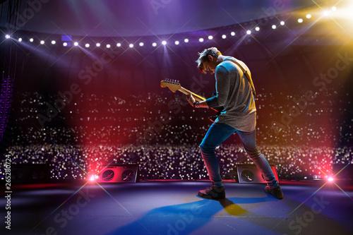 Rock star celebrity on the main stage big music festival. Aroun full stadium of spectators. fans are holding flashlights - 265280724