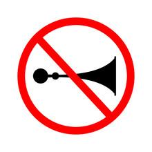 ์No Sound Horn Sign Vector. Do Not Honk The Horn.