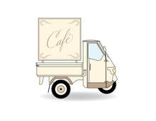 Dreirad Café Auto Werbung