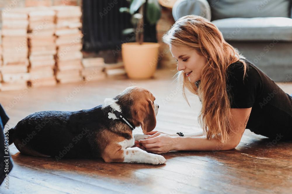 Fototapety, obrazy: Girl with a dog