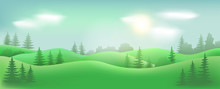 Summer Landscape, Green Hills, Trees, Blue Sky And Clouds. Vector Background, Nature.