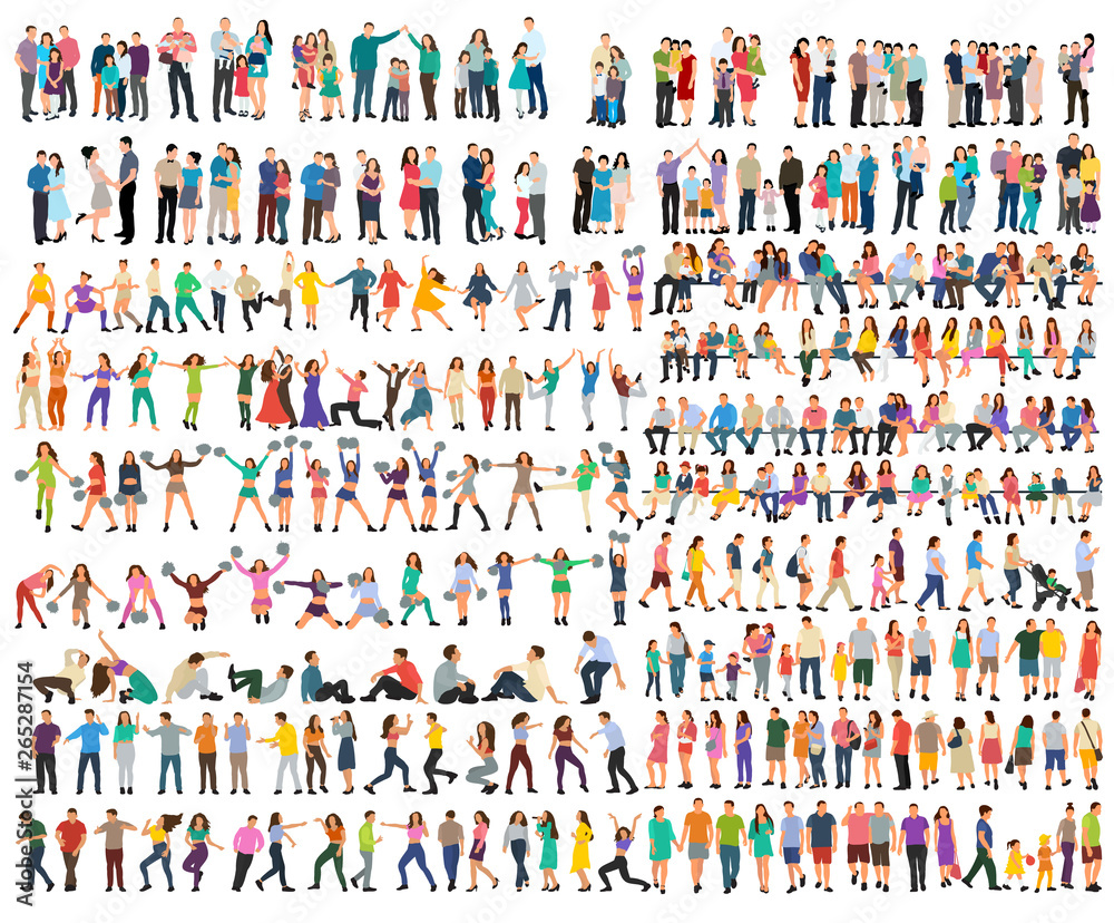 Fototapety, obrazy: vector, isolated, set of people silhouettes, flat style