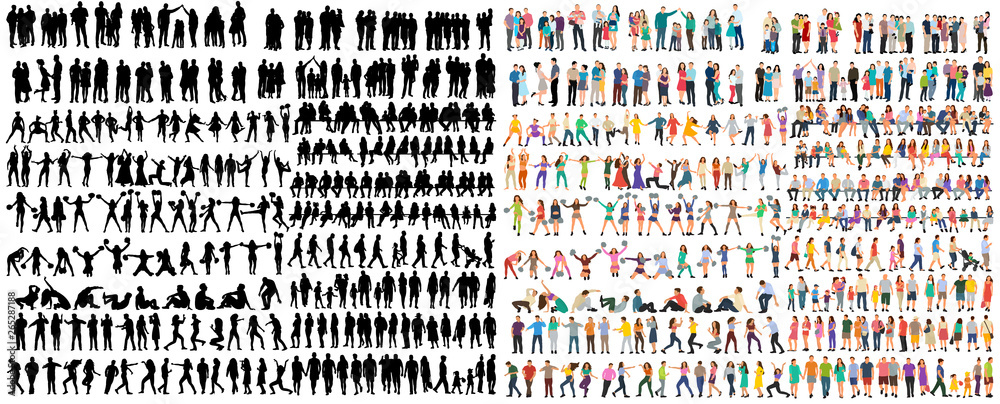 Fototapety, obrazy: vector isolated people silhouettes set