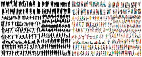 Fototapeta vector isolated people silhouettes set obraz