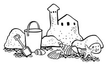 Beach Scene. Sand Castle With Bucket And Seashells. Vector Outline Cartoon Hand Drawn Illustration Black On White Background