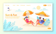 Concept Of Landing Page On Summer Vacation Theme. Outdoor Activity And Rest On The Beach. Couple Of Characters Relaxing On Sun Loungers And Drinking Cocktails, Sunbathing And Enjoy Summer Vacation.