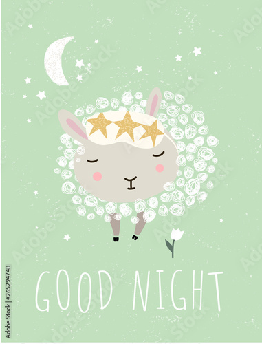 "Foto-Schmutzfangmatte - Cute wall interior poster, card or picture for the children's room. Vector drawn illustration of an animal lamb or ram with the inscription ""Good night"". Drawing in the nursery. (von ArdeaA)"
