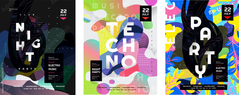 Fototapeta Night party and techno event. Vector gradient abstract background for poster,  flyer or cover. Psychedelic illustration for clubs, DJ, electronic techno music, festival, etc