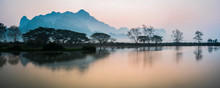 Misty Morning At Kyauk Kalap Buddhist Temple At Sunrise, Hpa An, Kayin State