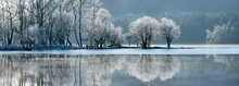 Loch Ard Partially Frozen Over And A Hoar Frost Around Aberfoyle In The Loch Lomond And The Trossachs National Park In Mid-winter, Stirling District, Scotland