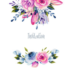 Card Template With Watercolor ...