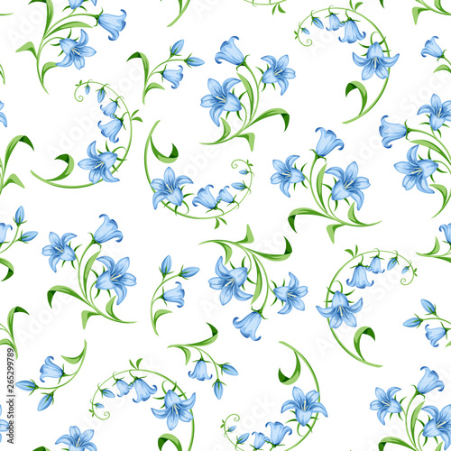 Vector seamless pattern with blue bluebell flowers on a white background Wallpaper Mural