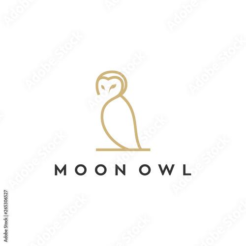 owl line vector logo design Wall mural