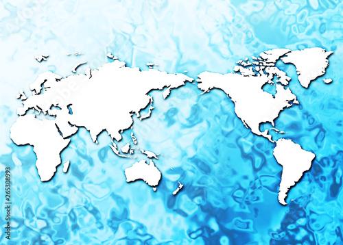 水面に浮かぶ世界地図