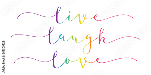 Poster Positive Typography LIVE LAUGH LOVE rainbow brush calligraphy banner