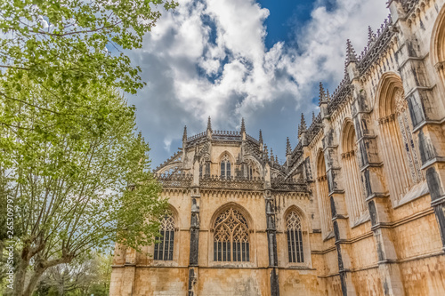 View of the ornate Gothic exterior facade of the Monastery of Batalha, Mosteiro Canvas Print