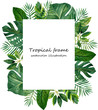 canvas print picture - watercolor frame of tropical leaves