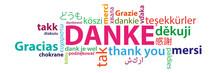 Danke Auf Verschiedenen Sprachen - Multilingual Wortwolke Bunt