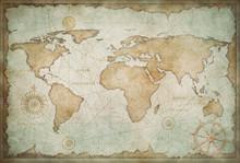 Blue Worn Vintage World Map Il...