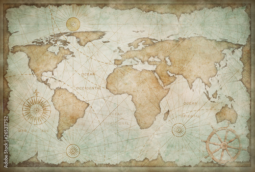 Blue worn vintage world map illustration