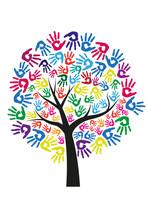 Baum Mit Bunten Handflächen