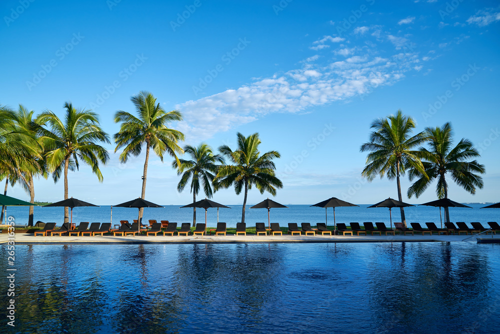 Fototapeta A beach resort in Fiji.