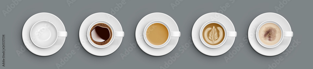 Fototapety, obrazy: Realistic White Cups With Coffee. Top View