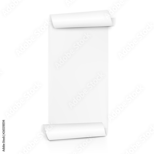 Clear White Paper Scroll. Sheet Roll On Both Sides Slika na platnu