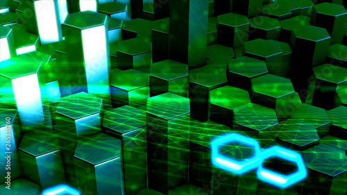 Digital Space Background 3d Rendered Polygon Structure With