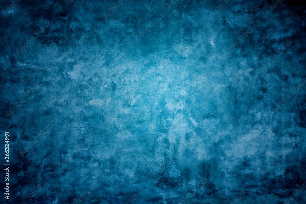 Fototapeta Grunge blue painted cement wall texture background.
