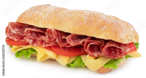 Ciabatta sandwich with lettuce, tomatoes prosciutto and cheese isolated on white Fototapete
