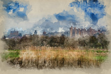 Watercolour Painting Of Arundel Castle Morning Landscape Viewed From River Arun