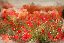 Watercolour Painting Of Stunning Poppy Field Landscape Under Summer Sunset Sky With Cross Processed Retro Style Effect