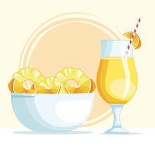 Smoothie With Pineapple And Orange Bowl