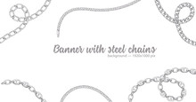 Horizontal Web Banner With Abstract Pattern Of Hand-drawn Sketch Silver Chain Isolated On White Background