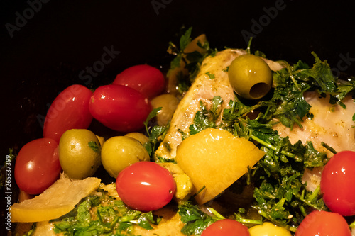 Canvas Prints Chicken chicken tajine with vegetables, olives and lemon