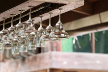 The Drink Glass Was Hung And Stored With A Glass Hanger Which Is On The Top Of The Bar.