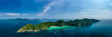 Aerial Panorama Of A Small, Beautiful Tropical Island (Mergui Archipelago)