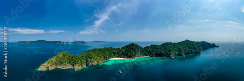 Aerial panorama of a small, beautiful tropical island (Mergui Archipelago)