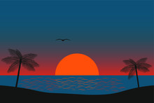 Night On The Beach And Palm Trees. Sunrise Of The Red Moon And Clear Sky. Seascape, Ocean And Ripples On The Water.