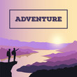 Two tourists on a cliff. Landscape of mountains and rivers with sunrise. Silhouettes of men travelers.