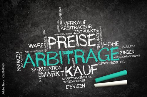 Leinwand Poster Arbitrage - Stichwortwolke auf Schultafel