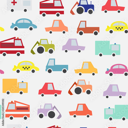 Cartoon comic cars seamless pattern