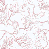 Seamless floral vector pattern with magnolia. - 265349773
