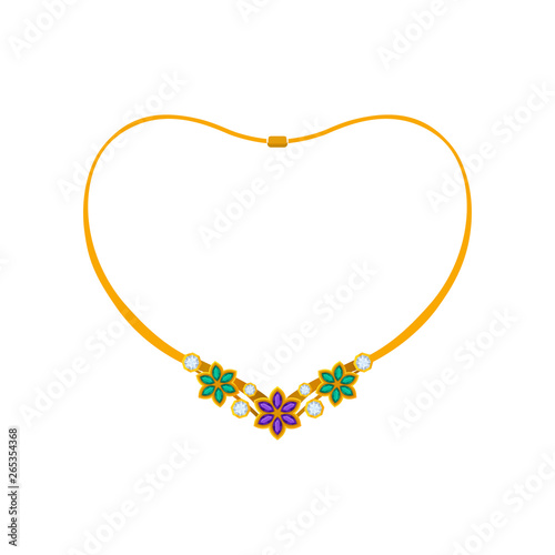 Leinwand Poster Elegant necklace with flowers made of precious stones