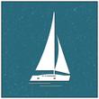 Sailboat in summer symbol, vector