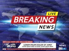 Breaking News. Breaking News Screen Saver Live On World Map Background. Vector Illustration.
