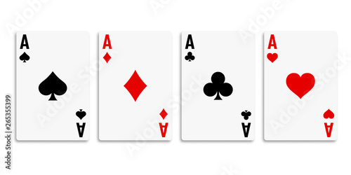 Fotografía  Classic four aces on white background. Vector illustration.